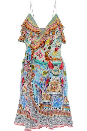 CAMILLA Meet Me Here ruffled printed silk mini dress