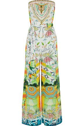 CAMILLA Sundowners strapless embellished printed silk crepe de chine jumpsuit