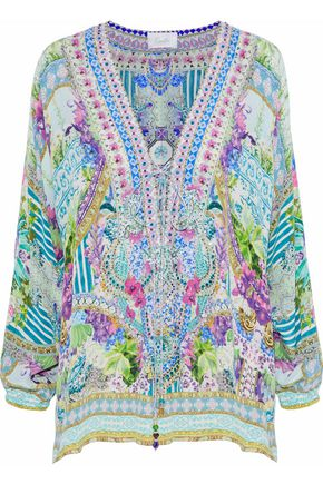 CAMILLA Lace-up embellished printed silk crepe de chine tunic