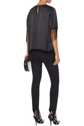 CAMI NYC The Fara fringed silk-charmeuse blouse