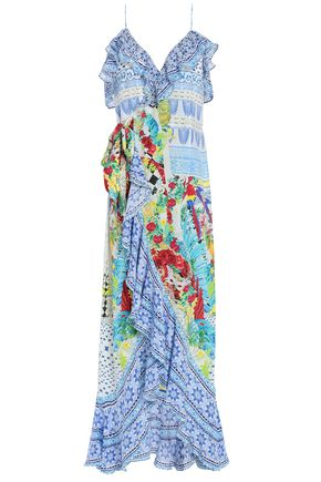 CAMILLA Embellished ruffled printed silk crepe de chine midi dress