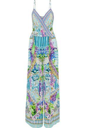 CAMILLA Salvador Fields Forever  embellished printed silk crepe de chine jumpsuit