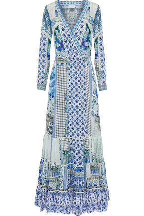CAMILLA Salvador Summer broderie anglaise-trimmed embellished printed silk maxi wrap dress