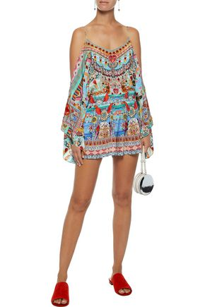 0713d6a113 CAMILLA Close To My Heart cold-shoulder embellished printed silk playsuit