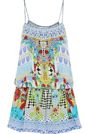 CAMILLA Wandering Eye crystal-embellished printed silk playsuit