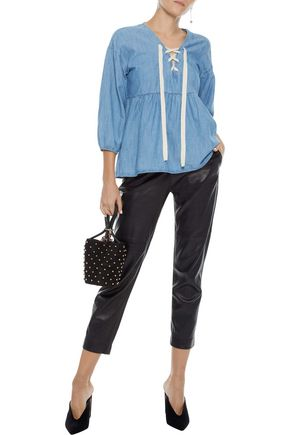 JOIE Bealette lace-up cotton-blend chambray top