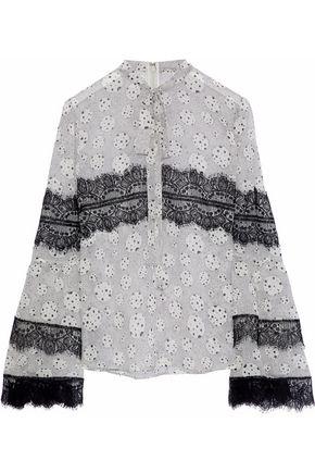 GIAMBATTISTA VALLI Pussy-bow lace-trimmed printed silk-chiffon blouse