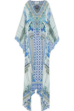 CAMILLA Close To My Heart crystal-embellished printed silk maxi dress
