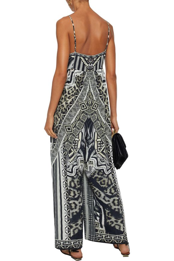6fd03068fbb Tribal Theory embellished printed silk crepe de chine jumpsuit ...