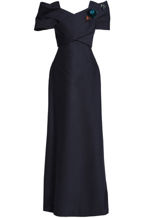 DELPOZO Embellished wool and silk-blend maxi dress