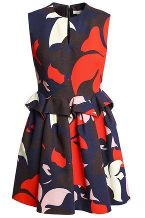 DELPOZO Ruffle-trimmed printed cotton-blend mini dress