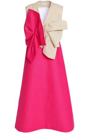 DELPOZO Gathered two-tone linen midi dress