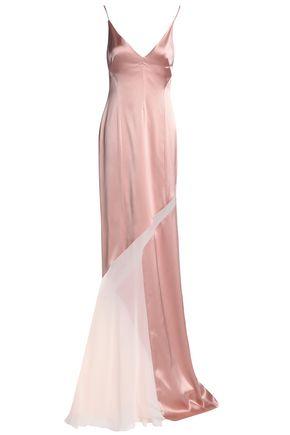GALVAN  London Chiffon-paneled satin gown