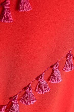 GALVAN  London Asymmetric tasseled crepe gown