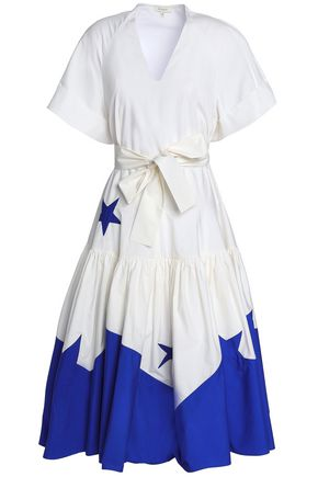 DELPOZO Gathered cotton-poplin midi dress