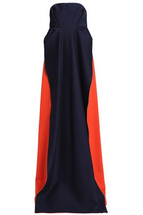 DELPOZO Strapless pleated two-tone ponte gown