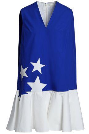 DELPOZO Embroidered cotton-poplin mini dress