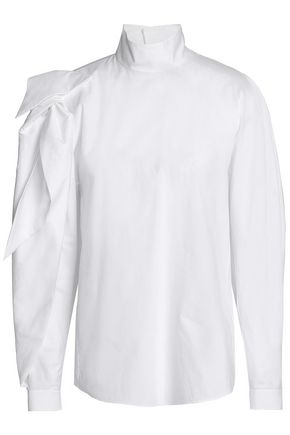 DELPOZO Knotted cotton-poplin blouse