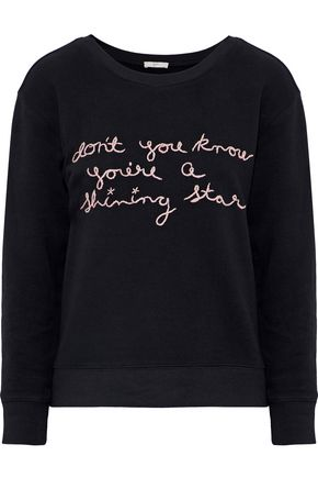 JOIE Rikke B embroidered French cotton-terry sweatshirt