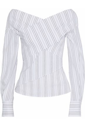 THEORY Layered striped stretch cotton-poplin top