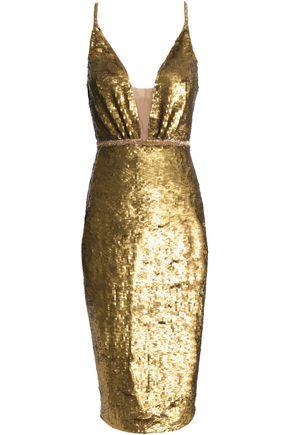 RACHEL GILBERT Bridie beaded sequined tulle midi dress