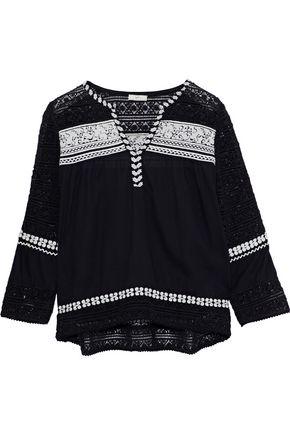 JOIE Coriana crochet-paneled embroidered cotton-gauze blouse