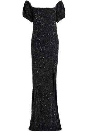 RACHEL GILBERT Krizzel off-the-shoulder sequined tulle maxi dress