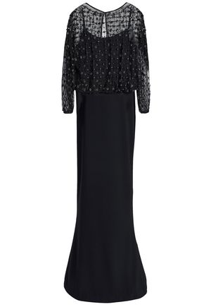 RACHEL GILBERT Nora embellished layered embroidered tulle and crepe gown