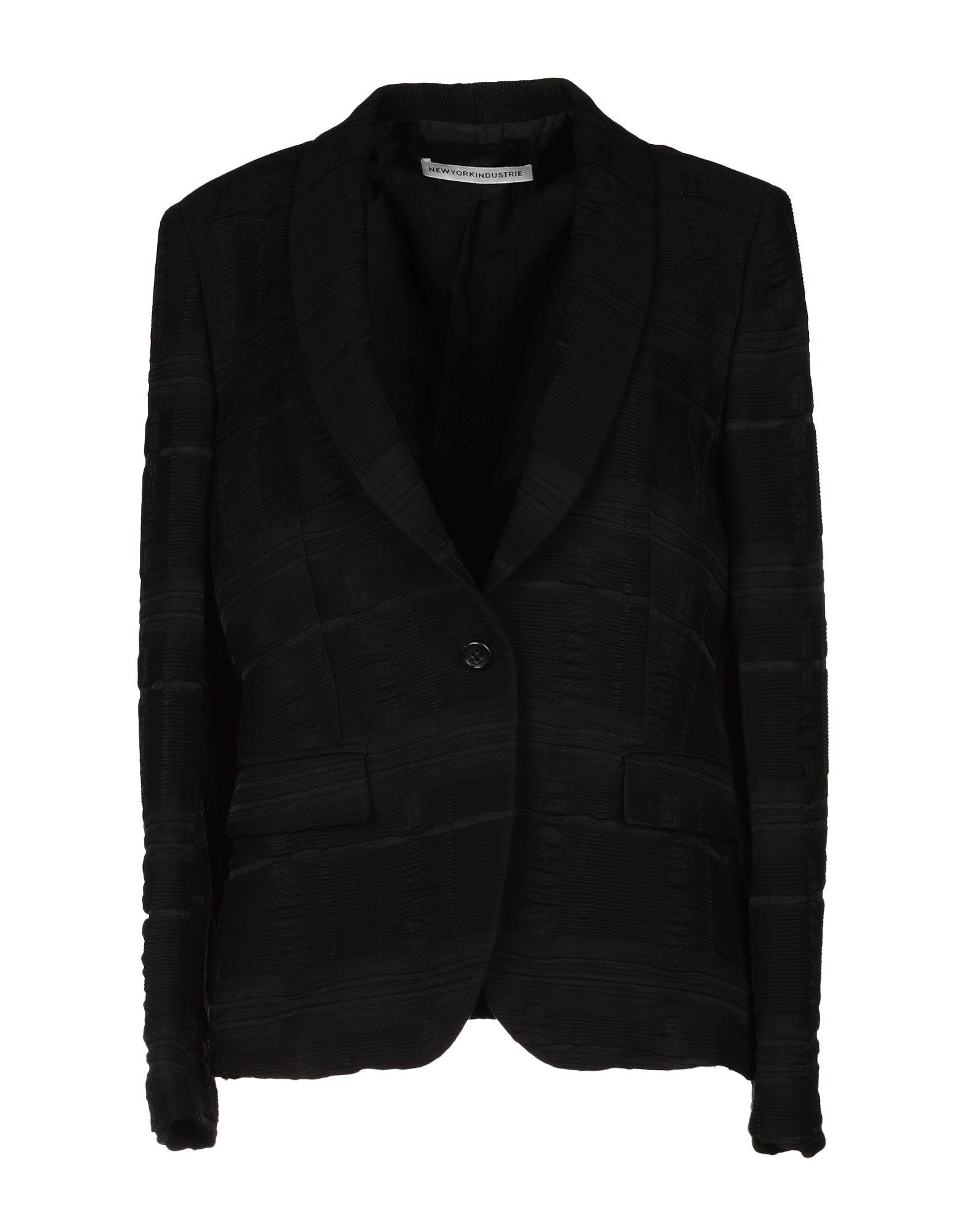 《送料無料》NEW YORK INDUSTRIE レディース テーラードジャケット ブラック 44 90% レーヨン 10% ナイロン