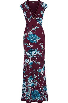 ROBERTO CAVALLI Velvet-trimmed embellished floral-print stretch-jersey gown