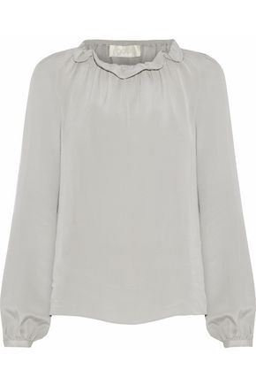 GOAT Gathered cotton-blend seersucker blouse