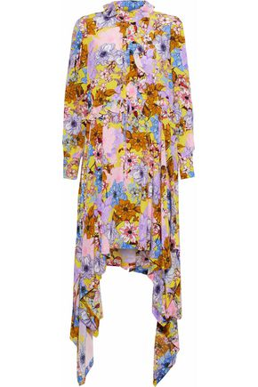 PREEN by THORNTON BREGAZZI Amelia ruffle-trimmed floral-print silk crepe de chine dress