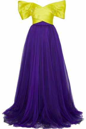DELPOZO スパンコール付き ツートーン シルクサテンファイユ&チュール ロングドレス