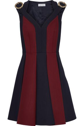 DELPOZO Cutout two-tone wool and silk-blend mini dress
