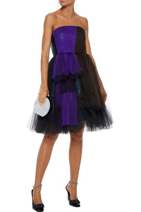 DELPOZO Strapless metallic color-block silk-blend tulle dress