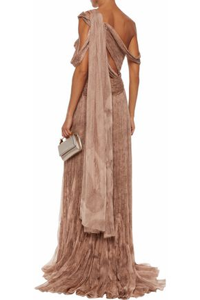 ROBERTO CAVALLI Ring-embellished cutout printed plissé silk-gauze gown