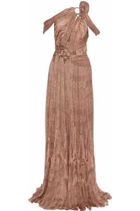 ROBERTO CAVALLI Ring-embellished cutout printed plissé silk-gauze gown