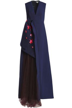 DELPOZO Tulle-paneled floral-appliquéd cotton-cady gown