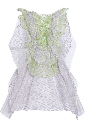 DELPOZO 装飾付き リネンメッシュ フィルクーペ ミニワンピース