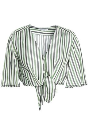 SONIA RYKIEL Cropped knotted striped piqué top