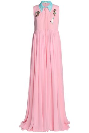 DELPOZO Embellished pleated silk crepe de chine maxi dress