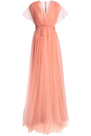 DELPOZO Crystal-embellished pleated tulle and chiffon gown
