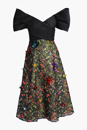 DELPOZO Strapless embellished lace midi dress