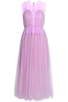 DELPOZO Organza-paneled silk-tulle gown