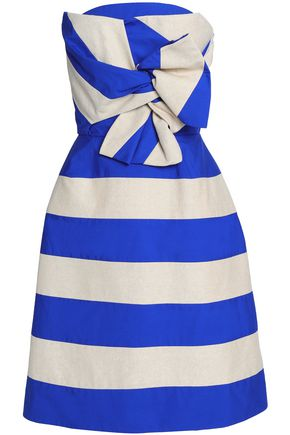 DELPOZO Strapless twist-front striped linen and cotton-blend dress