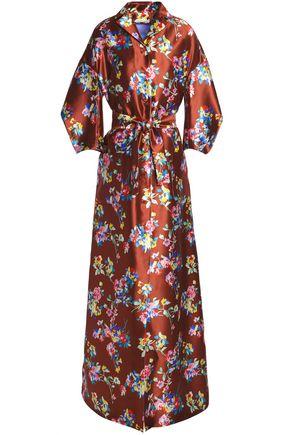 DELPOZO Flared floral-print silk-twill gown