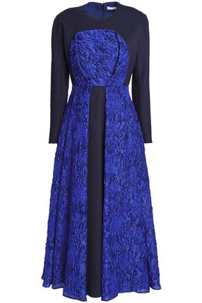 DELPOZO Paneled cloqué-jacquard midi dress