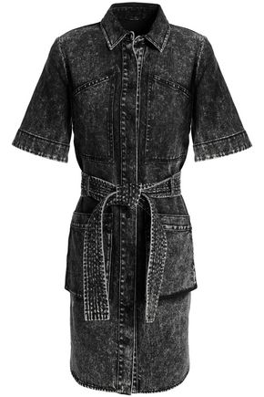 ADAM LIPPES Faded denim mini dress