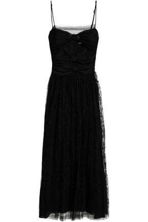 ADAM LIPPES Paneled silk-lace midi dress