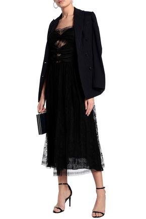 ADAM LIPPES Paneled silk-lace midi dress